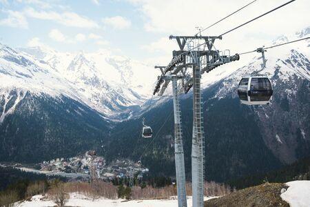 Caucasus,  mountains, winter, snow, cable car,
