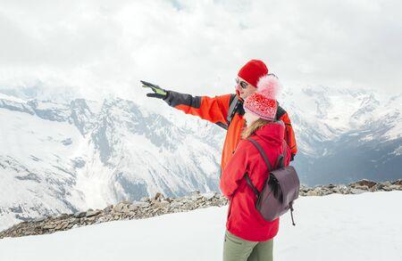 Caucasus, mountains, winter, people, tourists, man, woman,  peaks, slopes, snow, landscape,