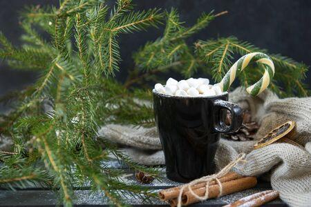 1 mug of hot drink with marshmallows, coffee, hot chocolate, fir branch, Christmas Stok Fotoğraf