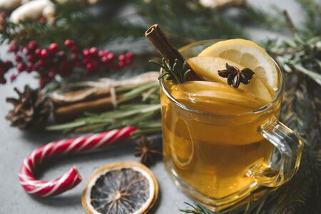 1 Cup fruit tea with Apple and lemon, star anise, fir branches, rosemary, Lollipop, cinnamon,  red berries on black background, top view, Stock Photo