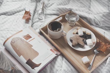 Cup of black coffee, a saucer of cookies, marshmallows, gingerbread man slices of cheese and chocolate on a tray on a white plaid, an open fashion magazine, maple dry autumn leaves, Reklamní fotografie