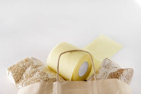 toilet roll and buckwheat, oat flakes, cereals with a paper bag on a white background
