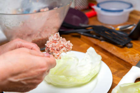 minced rice put on a cabbage leaf, preparation of stuffed cabbage, 免版税图像