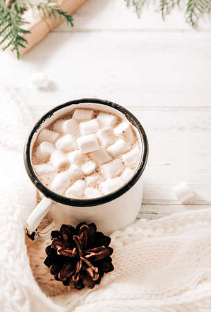 mug of cocoa with marshmallows, hot chocolate, a white sweater, cones, a gift box, green branches of thuja, fir branches on a white wooden background, a hot winter drink 免版税图像