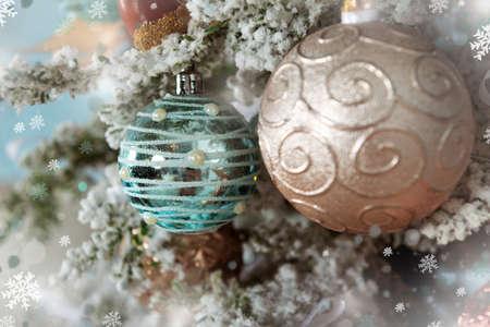 blue and gold balls on Christmas tree, holiday decor