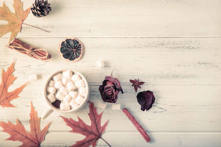 cocoa with marshmallows, autumn yellow maple leaves, cones, cinnamon sticks, dried rose on a white wooden background copy space top view