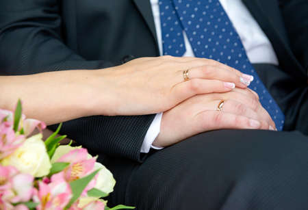 hands of the bride and groom with gold wedding rings, newlyweds, wedding 免版税图像
