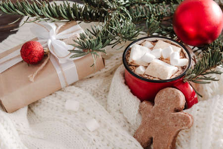 1 red mug of hot chocolate with marshmallows, cookies, gift, fir branch, red Christmas balls on a white sweater 免版税图像