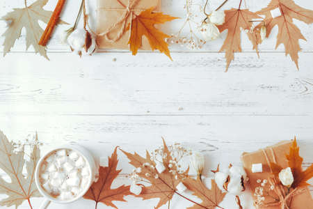 1 Cup of hot chocolate with marshmallows, maple dry leaves, flowers, cotton, gift box on a white wooden background 免版税图像