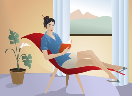 woman reading book: Relaxing