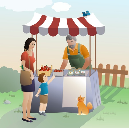 family outdoors: Farmers at market Illustration