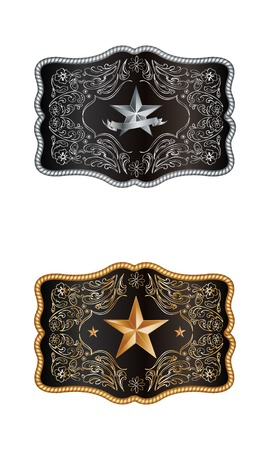 Squared cowboy buckle with gold and silver decoration Vector