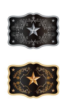rodeo americano: Vaquero cuadrada hebilla de oro y plata decoración