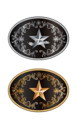 Oval cowboy buckle with gold and silver decoration Vector
