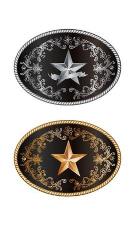 Ovale cowboy gesp met gouden en zilveren decoratie Stock Illustratie