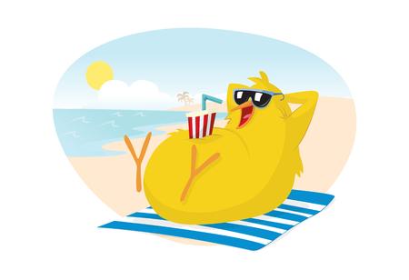 beach towel: Chick on the beach