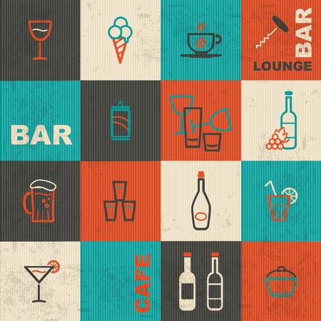 cocktail bar: Bar retro icons set Illustration