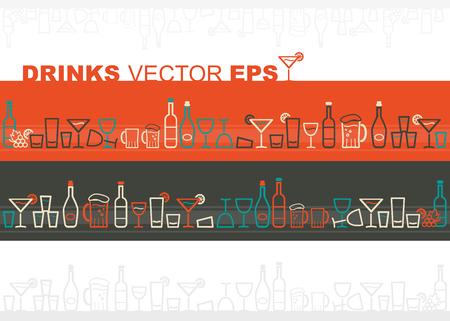 alcoholismo: Vino y bebidas frontera Vectores