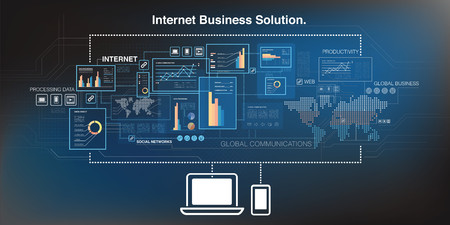 streaming: Online business and cloud computing Illustration