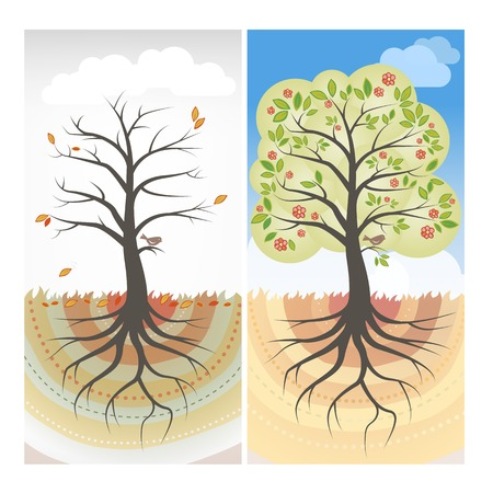 unhealthy living: Seasons Illustration