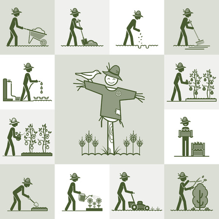 cutting grass: Gardening Illustration
