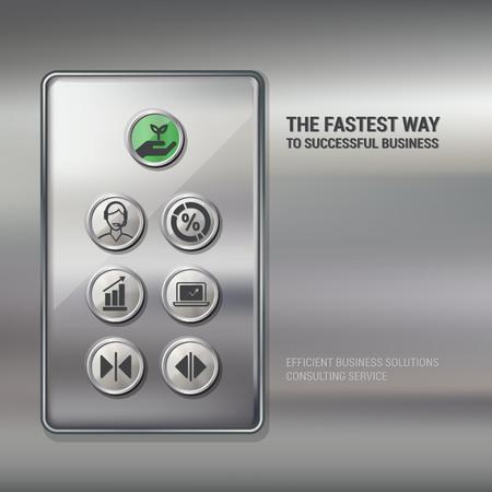 panel de control: Botones pulsadores de elevación con iconos de negocios y las finanzas, el concepto de negocio de éxito
