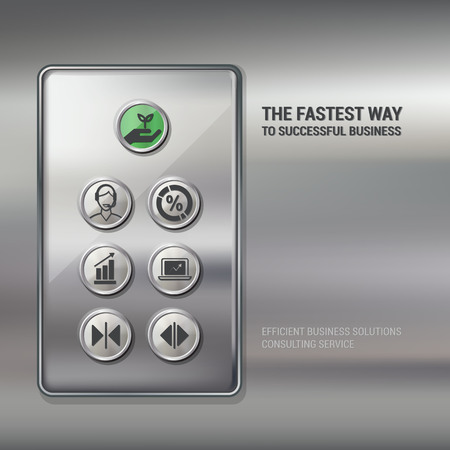control panel: Lift push buttons with business and finance icons, successful business concept