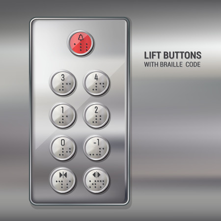 Lift push buttons with braille code and metallic surface Vector