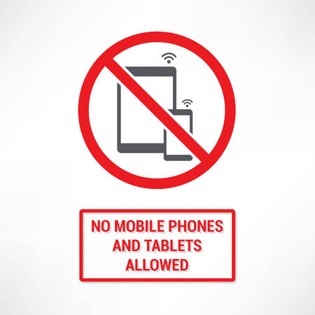 No mobiles and Tablets allowed Vector