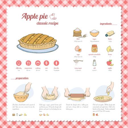 pastel de manzana: Receta de la empanada de Apple Vectores
