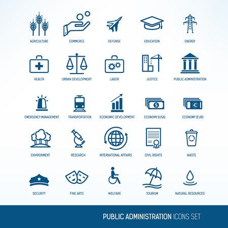 pracoviště: Veřejná správa ikon Ilustrace