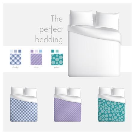letti: La biancheria da letto perfetta Vettoriali