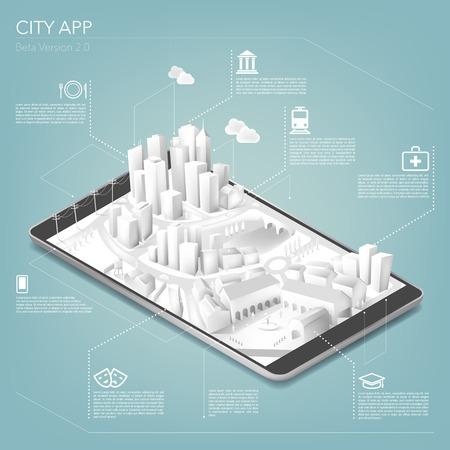 city: Ciudad aplicación Vectores
