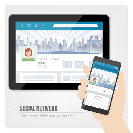 social network icon: Social networks and user profiles on tablet and smartphone
