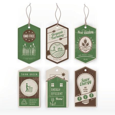 recycle reduce reuse: Etiquetas verdes de la vendimia en la conservaci�n del medio ambiente, los alimentos ecol�gicos y de ahorro de energ�a. Vectores