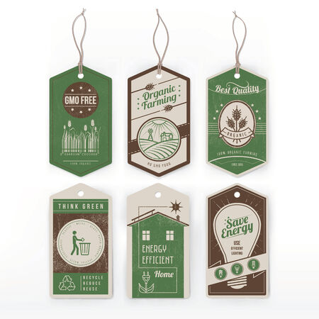 Vintage green labels on environmental conservation, organic food and energy saving. Vector