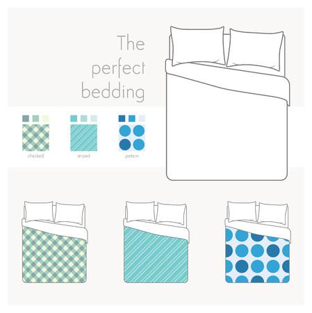 Pościel i ręczniki makiety z góry widok Nakreślone próbki łóżkiem i wzorach. Ilustracje wektorowe
