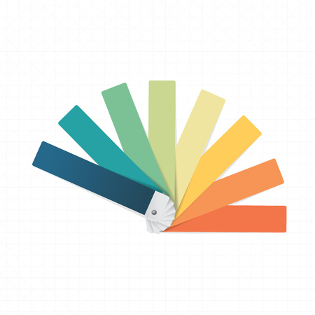 Color swatch on white checked paper background Illustration