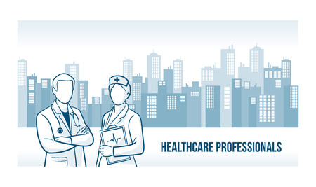 healthcare worker: Healthcare professionals banner with skyline urban background