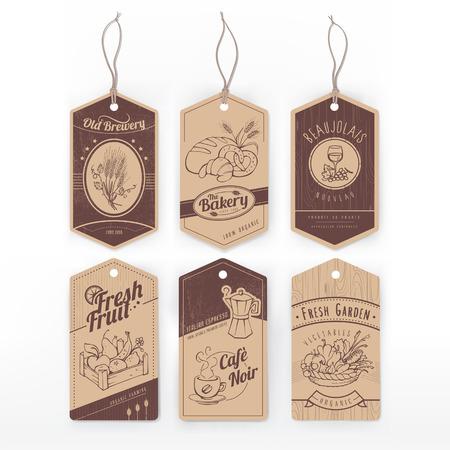 pan y vino: Etiquetas de la vendimia con la mano de la raya dibujada con alimentos variados.