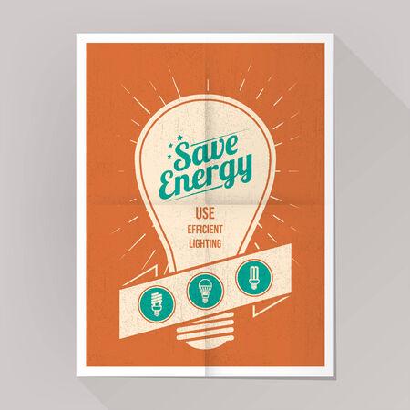 ahorro energia: Ahorre energía cartel lámparas CFL con bombillas iconos establecidos.