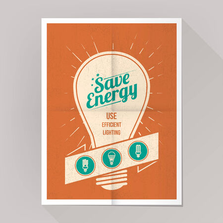 Save energy cfl lamps poster with bulbs icons set.
