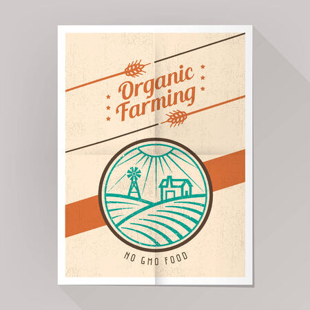 genetically modified crops: Organic farming no gmo poster vintage style with farm and fields illustration.