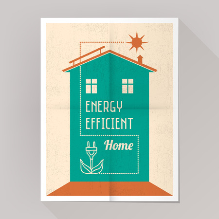 solar panel roof: Energy efficient house and solar panels poster vintage style.