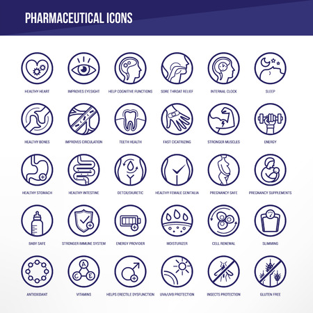 Pharmaceutical medical icons set for medical packaging on organs and body health. Ilustracja