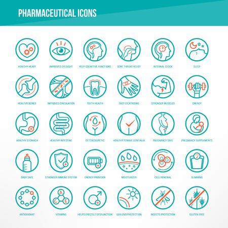 Farmaceutické lékařské ikony nastavit pro balení léků na orgány a tělesné zdraví.