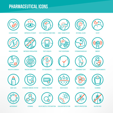 Pharmaceutical medical icons set for medical packaging on organs and body health. Vettoriali