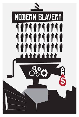 dictature: L'esclavage et la pauvret� moderne concept de l'affiche avec copyspace Illustration