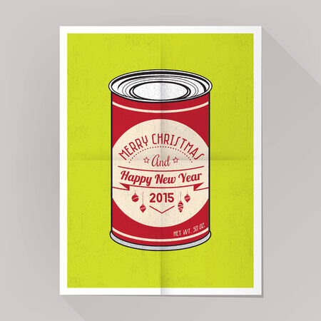 Christmas pop poster with text on vintage label on metal can.