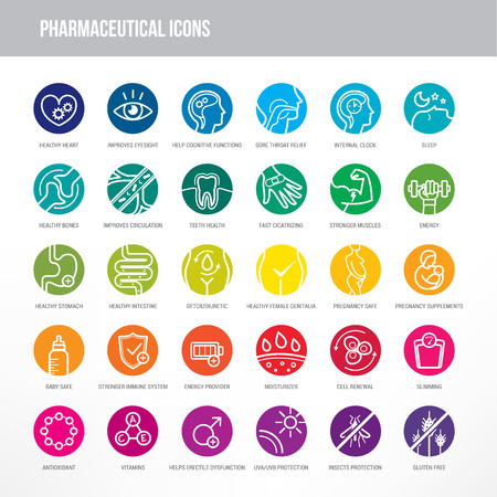 Pharmaceutical medical icons set for medical packaging on organs and body health. Vectores